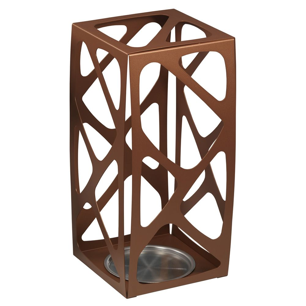 Copper colour varnished steel umbrella stand