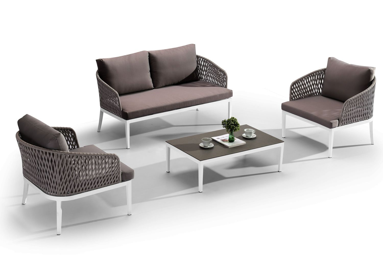 Outdoor set made of white aluminium and acrylic straps: one two-seater sofa, two armchairs, one coffee table with glass top