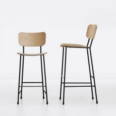 Master SG - Midj stool in metal, with seat available in different finishes, seat height 66 or 76 cm