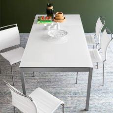 CB4085-MV 130 Snap - Connubia - Calligaris extendable metal table, glass top 130 x 90 cm