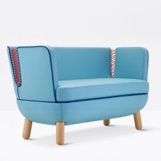Sly L - Two-seaters sofa Adrenalina, with wooden legs, available with different coverings