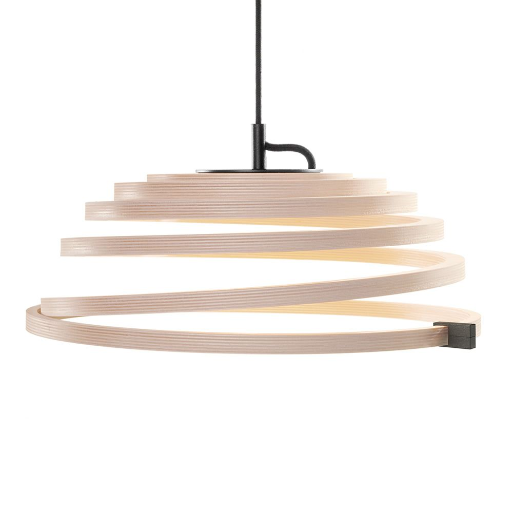 Suspension lamp in birch wood, black cable