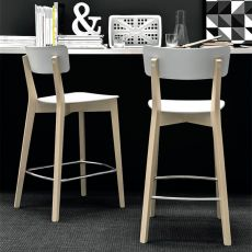 CB1529 Jelly - Connubia - Calligaris wooden stool with polypropylene seat, available in several colours, seat height 65 cm