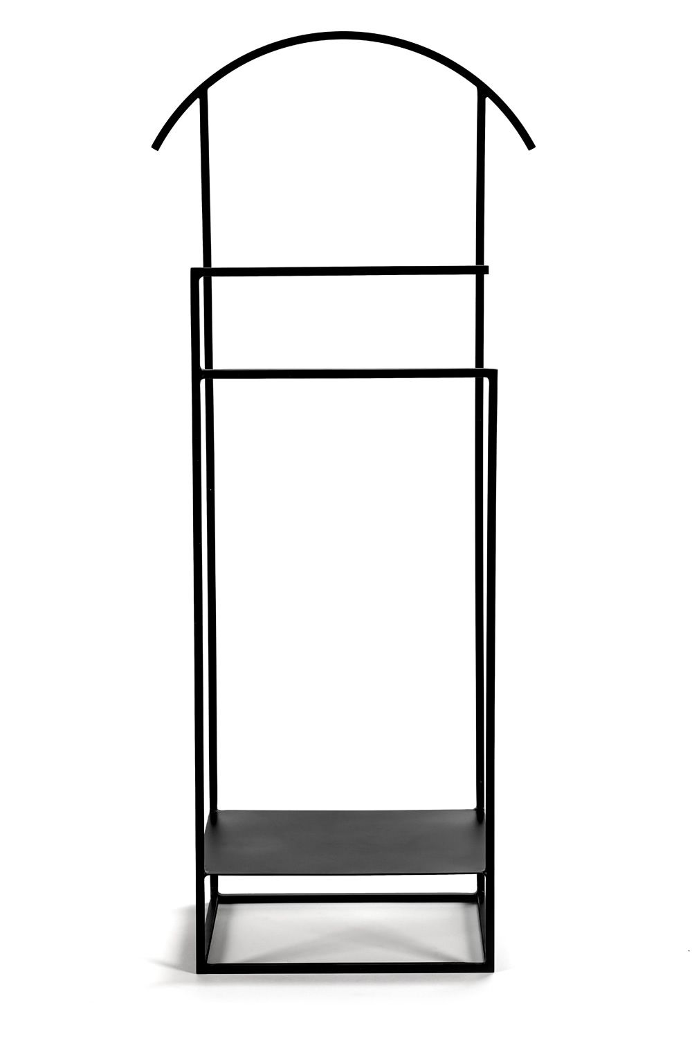 Serax design valet stand, in metal, with shelf for shoes