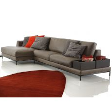 Chennai chaise - 2, 2-XL, 3 or 3-XL seater sofa, removable covering, with chaise longue and two bonded leather boxes