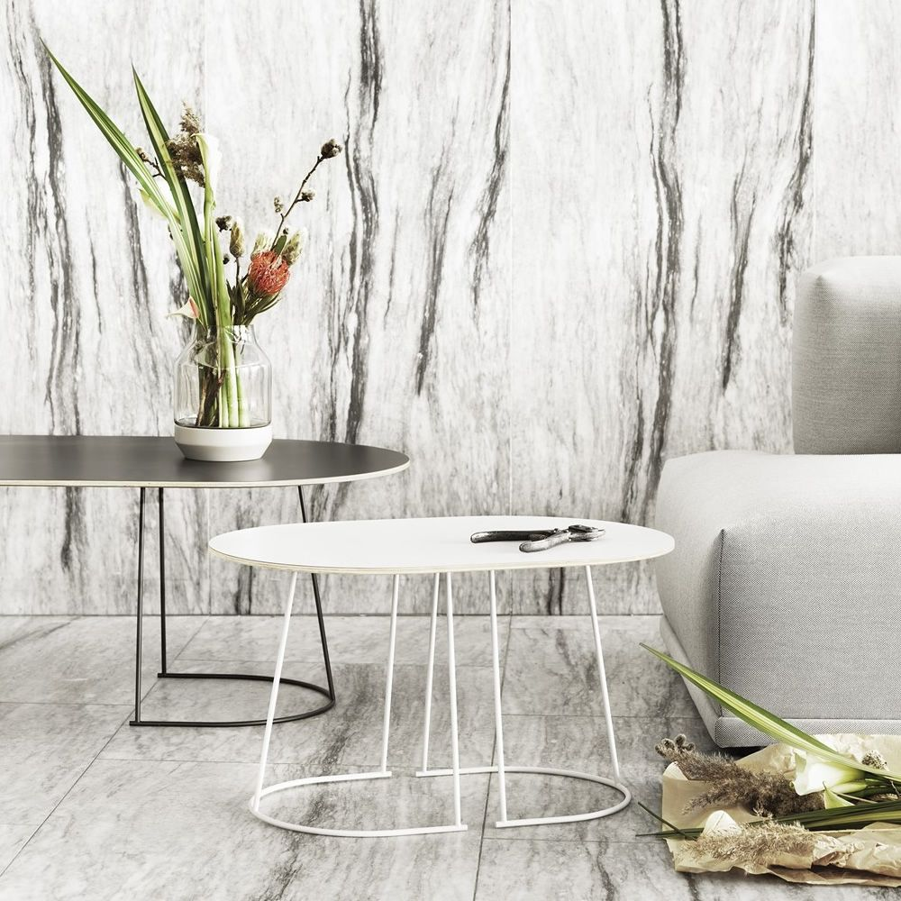 Coffe table in metal, wooden top, white colour, S model