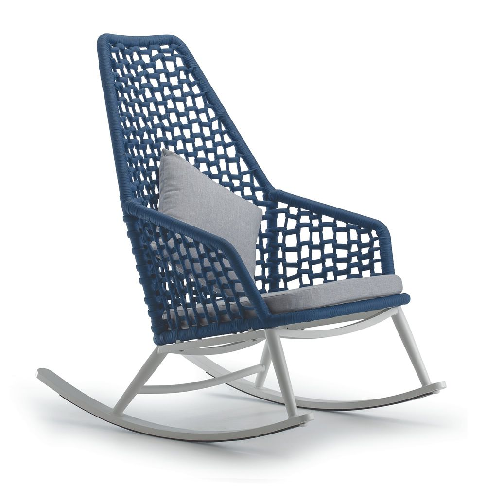 Aluminium rocking armchair with polyester rope, blue colour