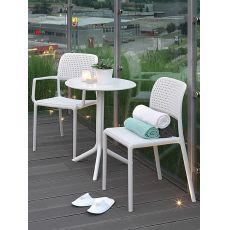 Step - Polypropylene table, pierced top, 60.5cm diameter, for garden