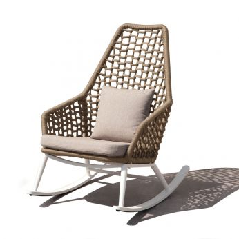Kos D Idol Collection - Aluminium rocking armchair with polyester rope, beige colour