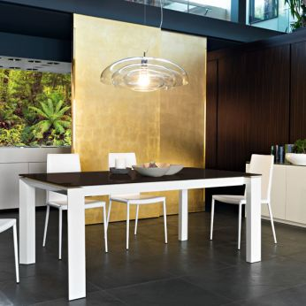 CS4058-LV 160 Omnia Glass - Table in white lacquered wood, with coffee brown serigraphed glass top