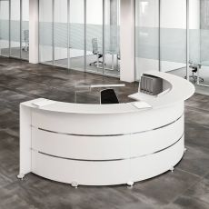 Reception Glass L - Office reception desk in wood with chromed decorations, glass top