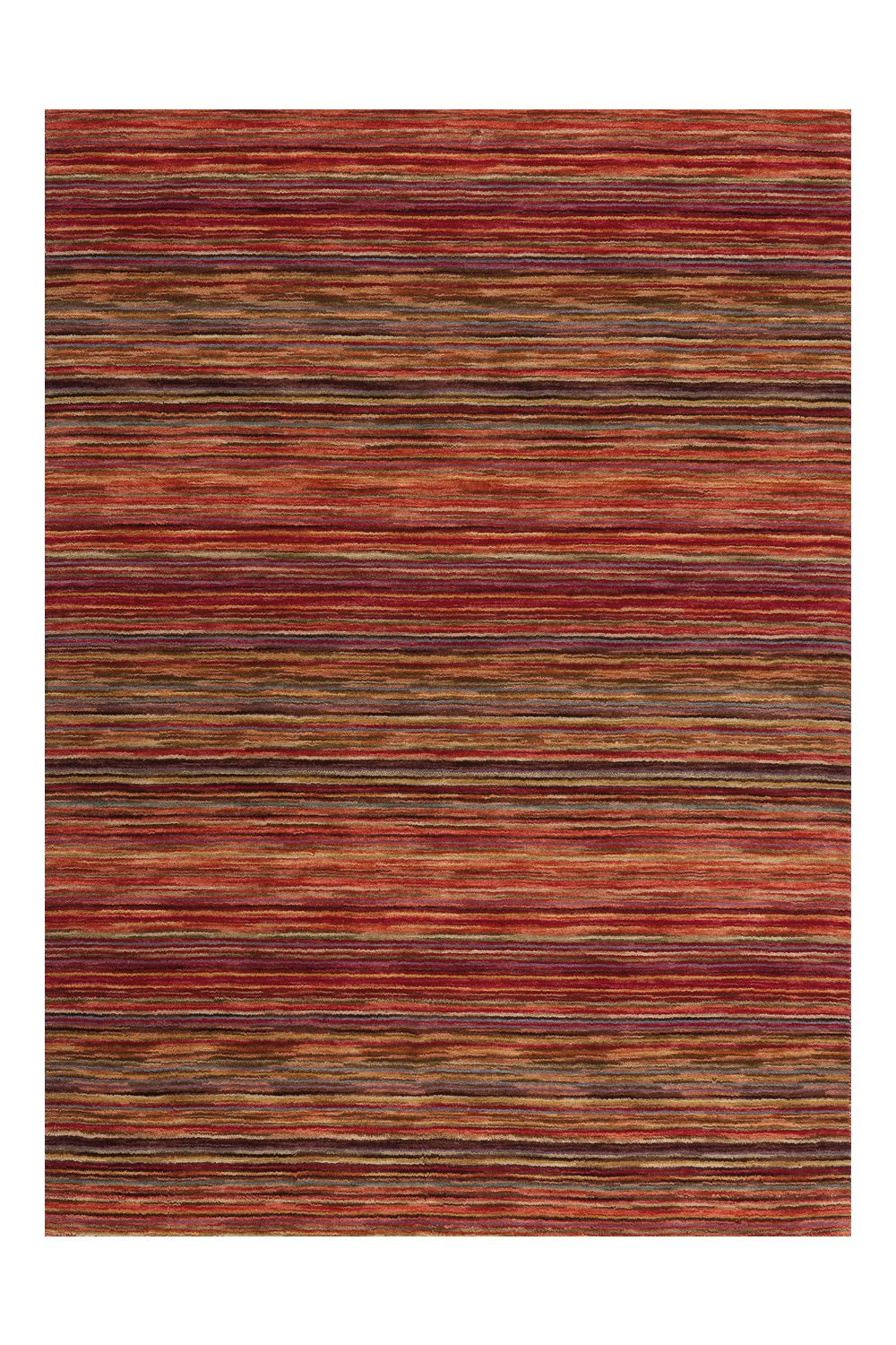 Hand-woven rug in red colour