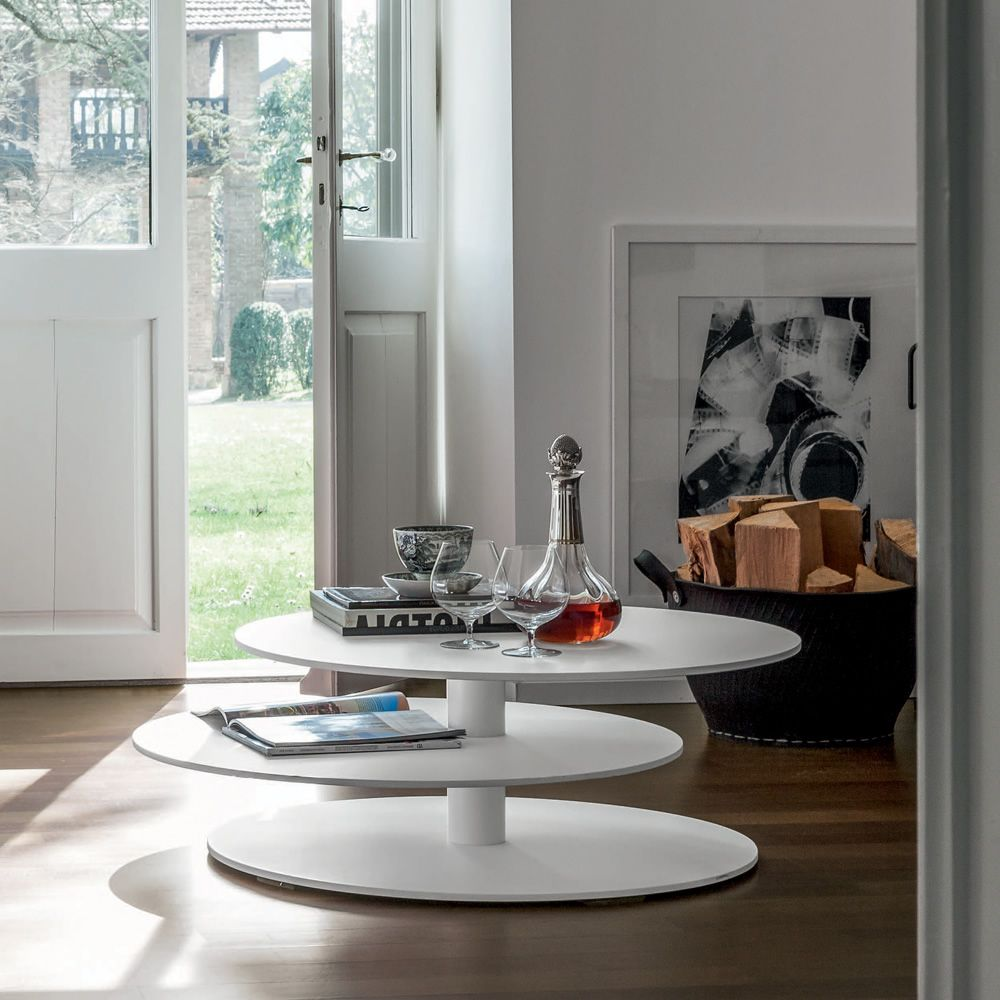 Coffee table in metal, white colour - size L