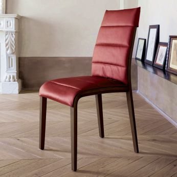 Portofino 7218 - Ash wooden chair, dark oak finish, seat covered with red leather