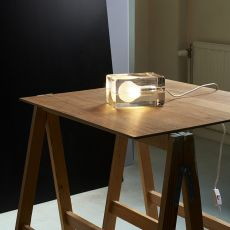 Block - Design table lamp in glass, LED, with textile cord in white or black