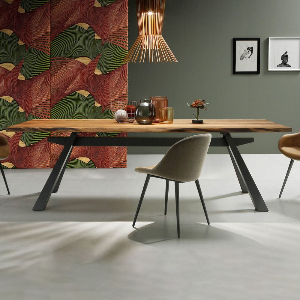 Fixed table made of varnished steel in graphite grey colour, with top in solid walnut bark wood, matched with Sonny chairs
