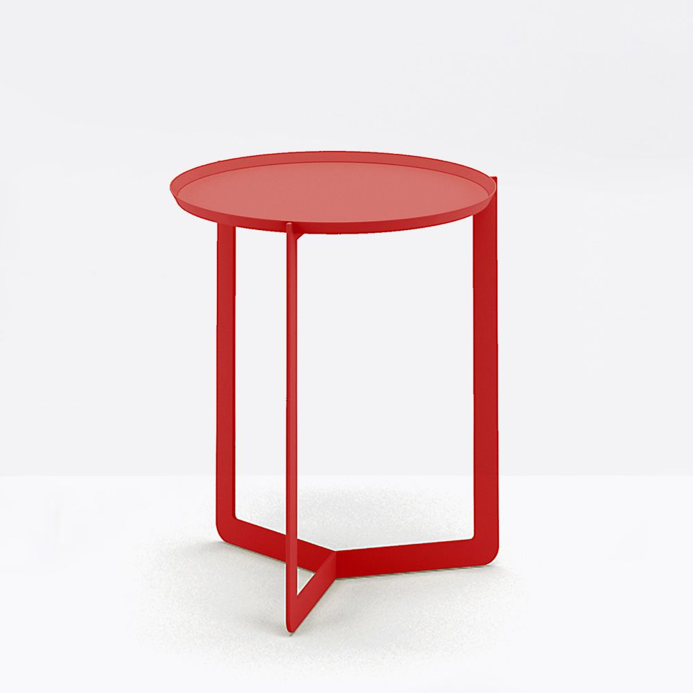 Small round table in lacquered metal, color red poppy
