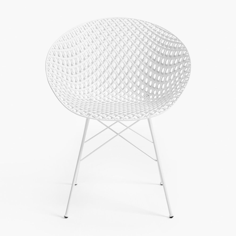 Kartell chair in white varnished metal, white polycarbonate seat