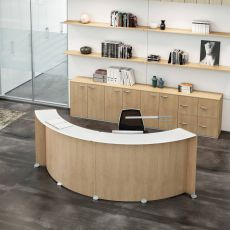 Reception Glass - Banco per reception da ufficio in legno, top in vetro