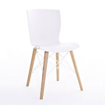 Rap Wood - Chair in natural oak, white seat