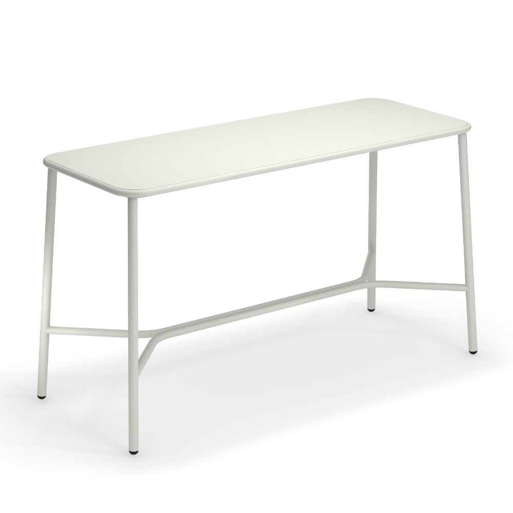 High table for outdoor, in white colour, 180 x 70 cm
