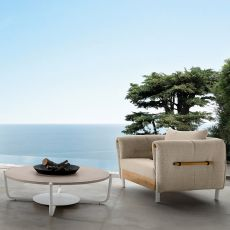 Domino P - Armchair for outdoor in aluminium and teak, removable covering