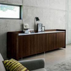 Slash-SM - Dall'Agnese sideboard made of veneered wood, marble top, different colours and sizes available