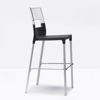 Diva S 2286 - High stool, anthracite grey colour seat with transparent backrest