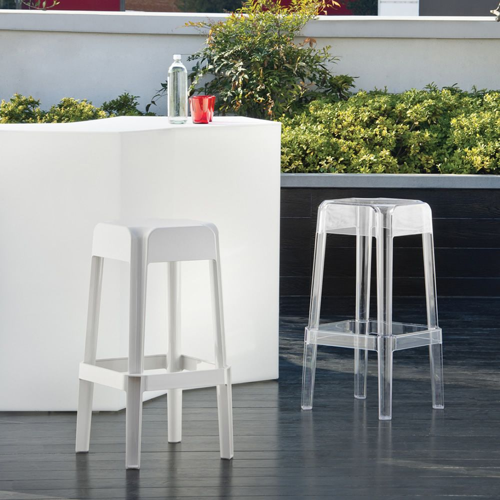 Bar stool, in polycarbonate, full white or transparent colour