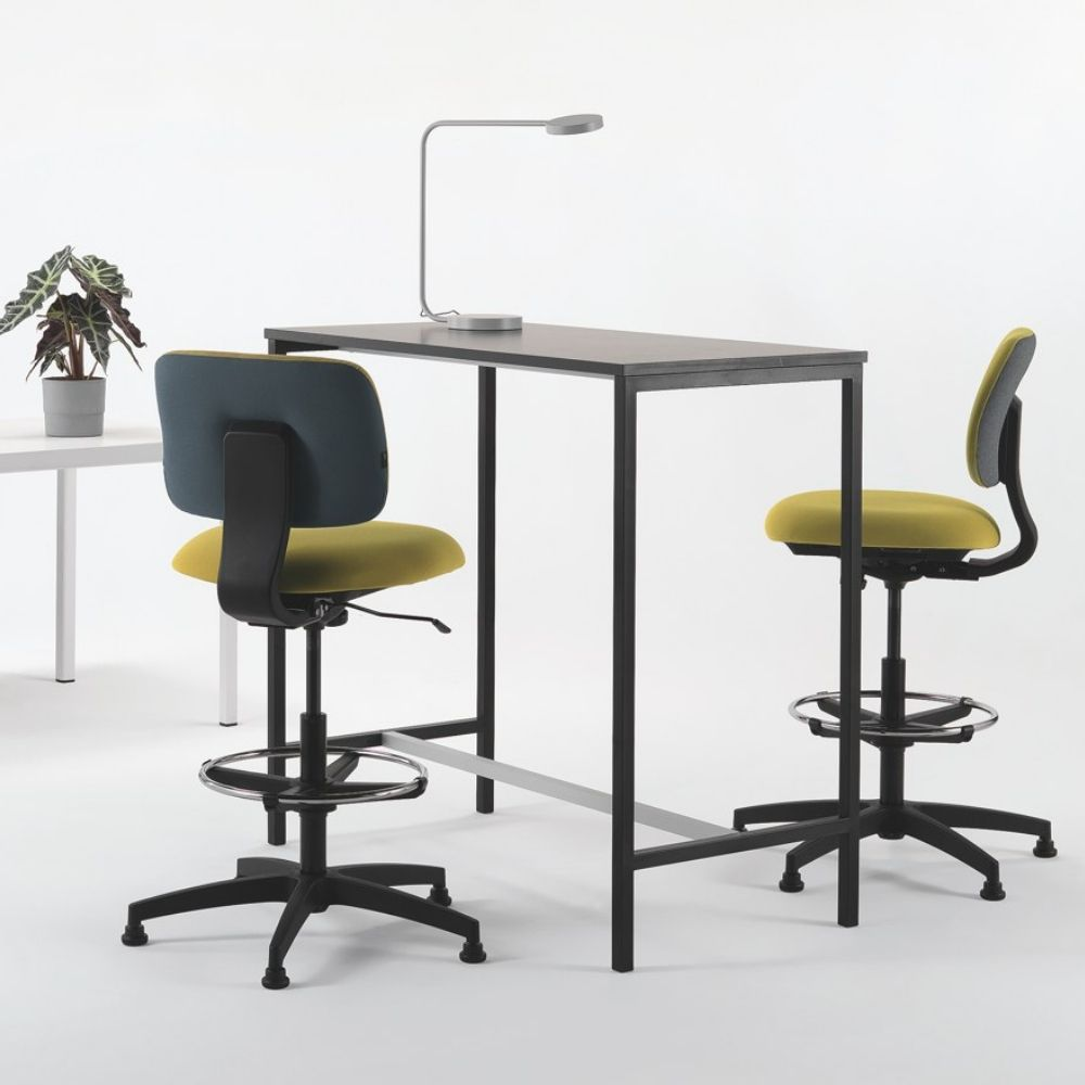 Task stool by Milani, with black nylon frame and fabric upholstery