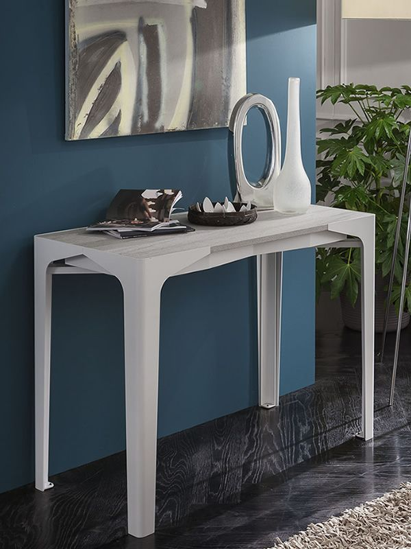 Extendable console in Alaska white varnished metal, ash basalt laminated wooden top
