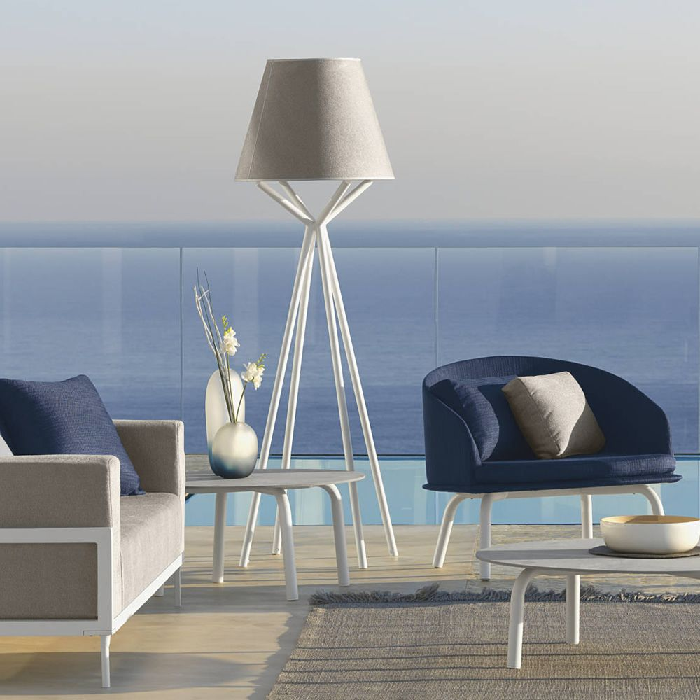 Modern lamp with grey lampshed and white structure