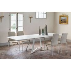 Dallas E 42.87 - Extendable metal table, 190x106 cm top, available in several finishes