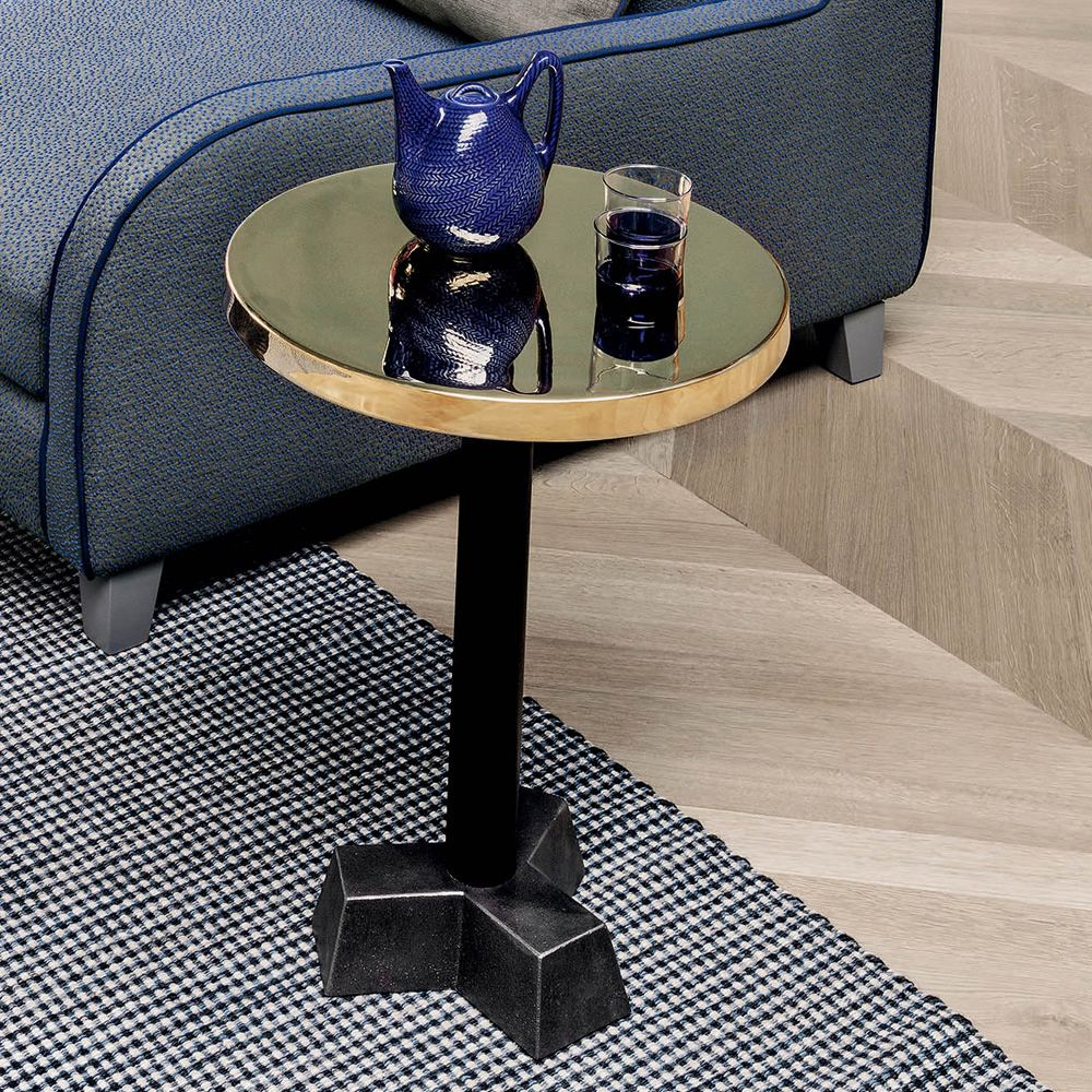 Coffee table in wood and metal, glossy brass top