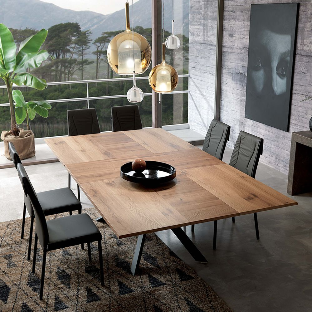 Extendable table with opaque graphite varnished metal structure, natural antique oak top, 254x138 cm