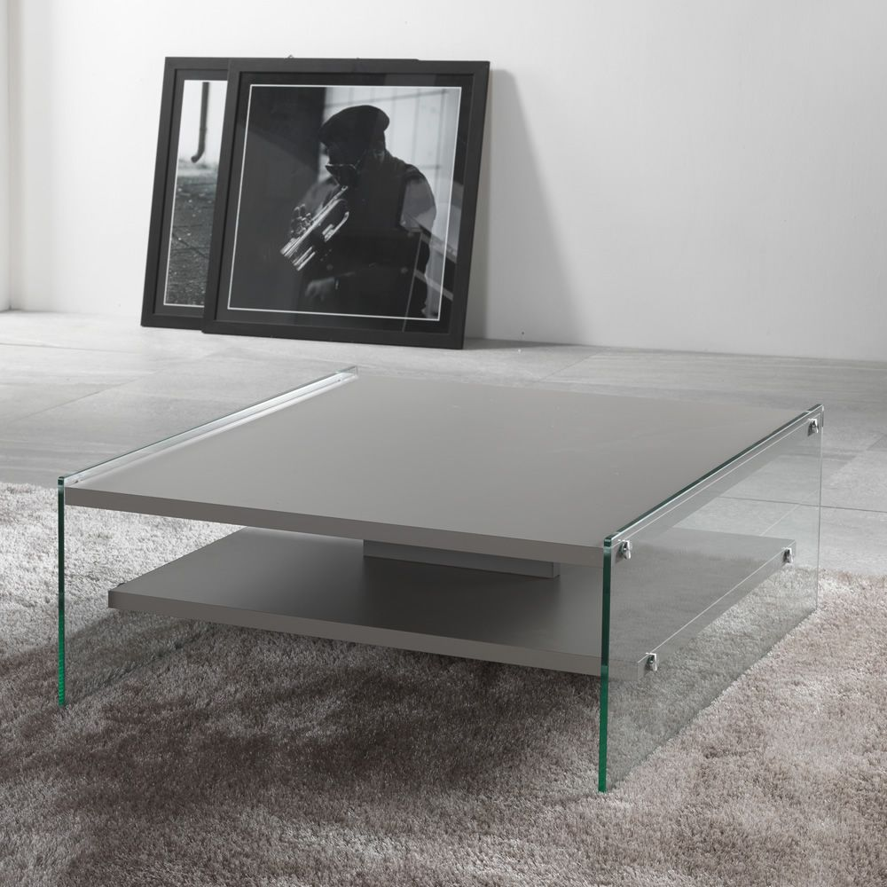 Squared coffee table with dove grey laminated top