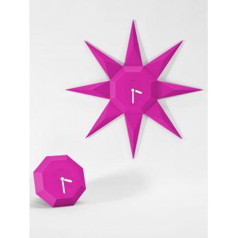 Gemstone - Wall clock with sun shape, fucsia