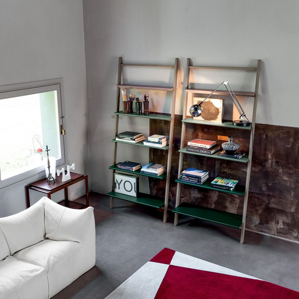 Bookcase made of oak wood in ash grey colour, with shelves in powder pink, jade green and dark green lacquered wood