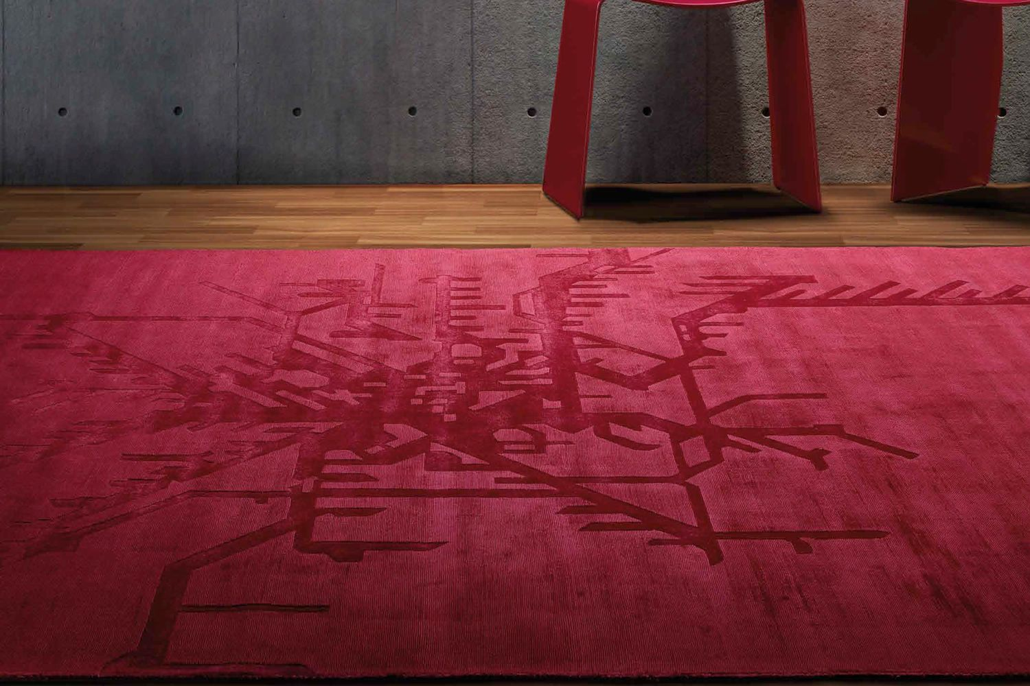 Design rug in red colour