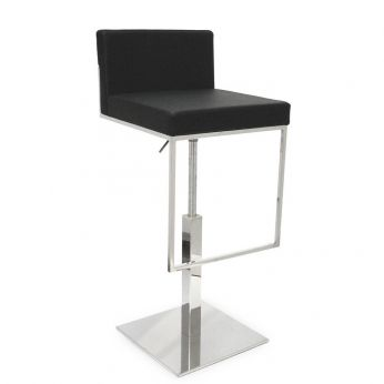 CS1394-LH Even Plus - Metal stool, with black leather covering
