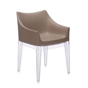 Madame - Kartell design small armchair, structure in transparent polycarbonate, covering seat in dove grey imitation leather