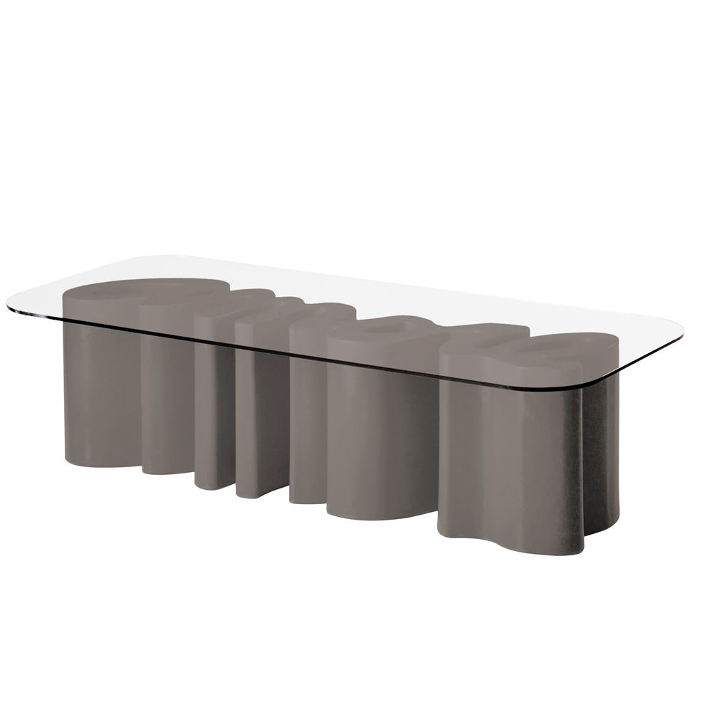 Amore Table Glass top Transparent glass Colour Clay grey