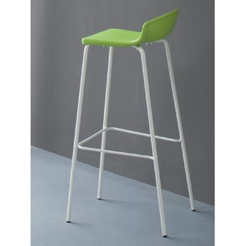 Easy - Modern bar stool with black structure and seat, for outdoor