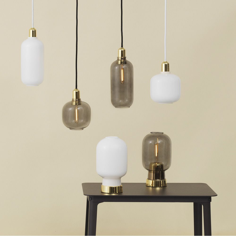 Pendant lamps made of glass with brass base, matching with Amp-T Brass table lamps