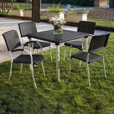 Maestrale 90 - Metal table, 90x90 cm resin top, stackable, for garden