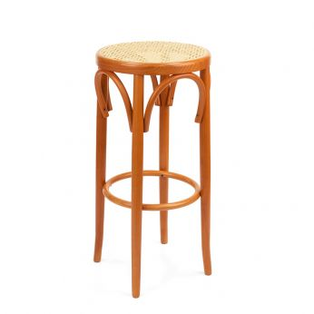 SE72H - Wooden stool in cherry dyed, cane seat