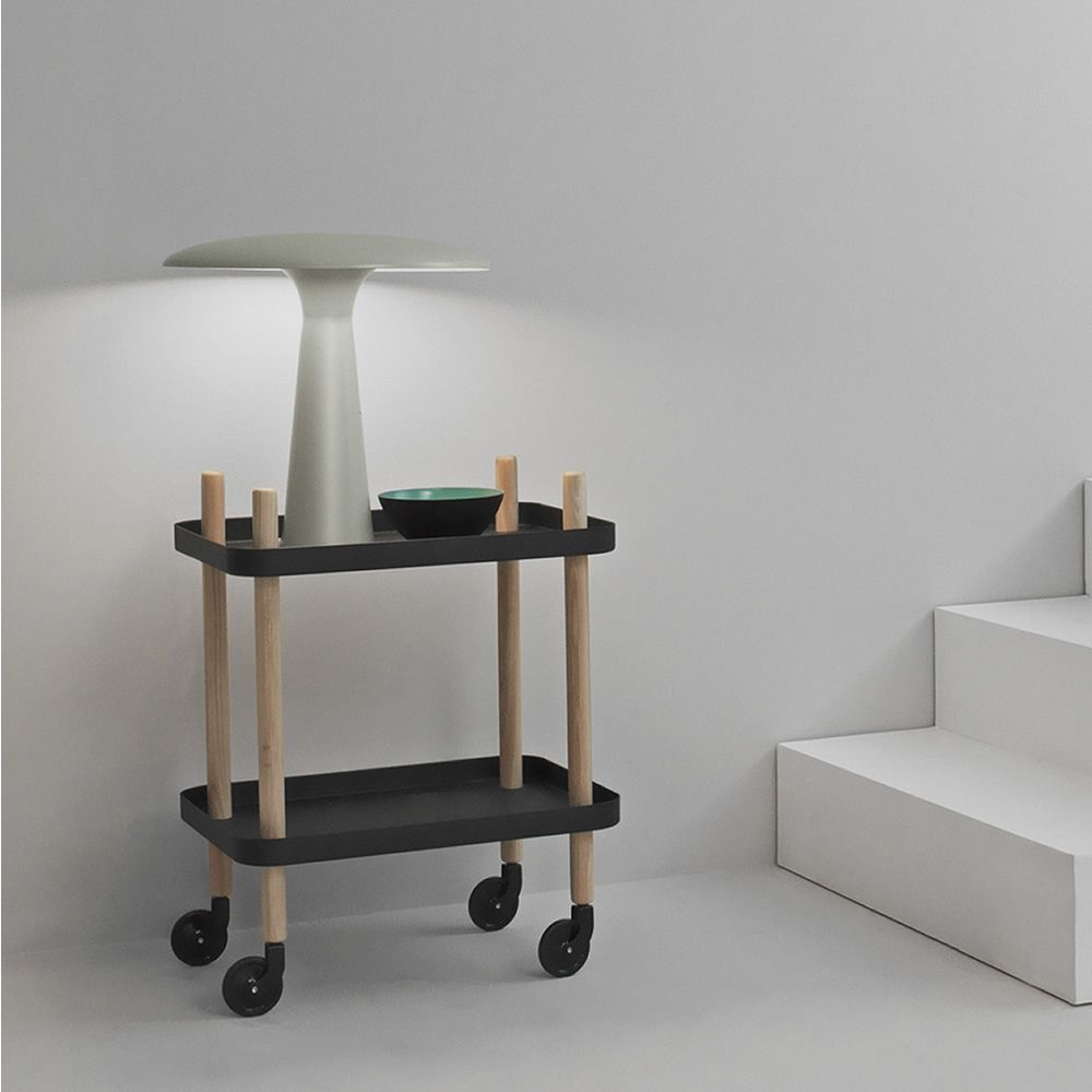 Table lamp made of grey lacquered steel, matched with Block trolley