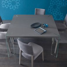 Agrippa - Fixed design table, with glass legs, available in different sizes and colours