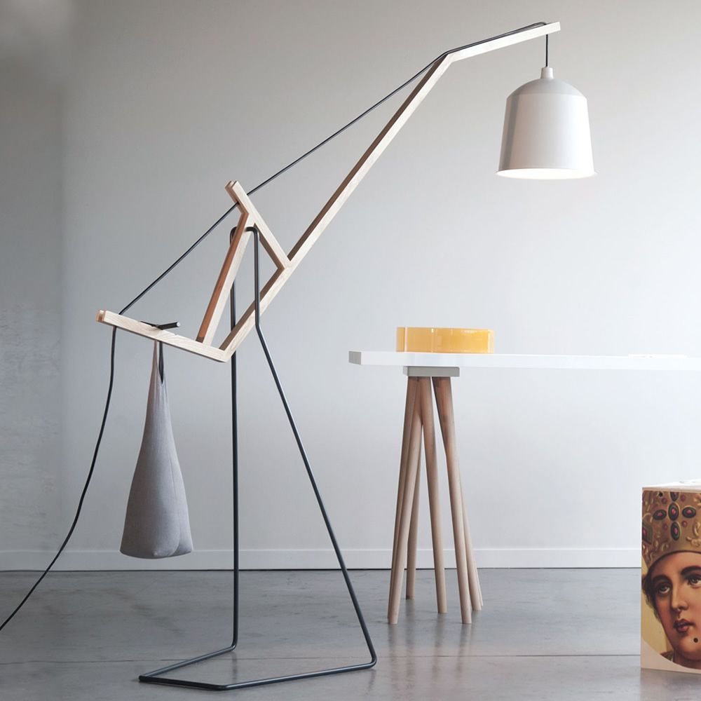 Floor lamp in wood and metal, white colour