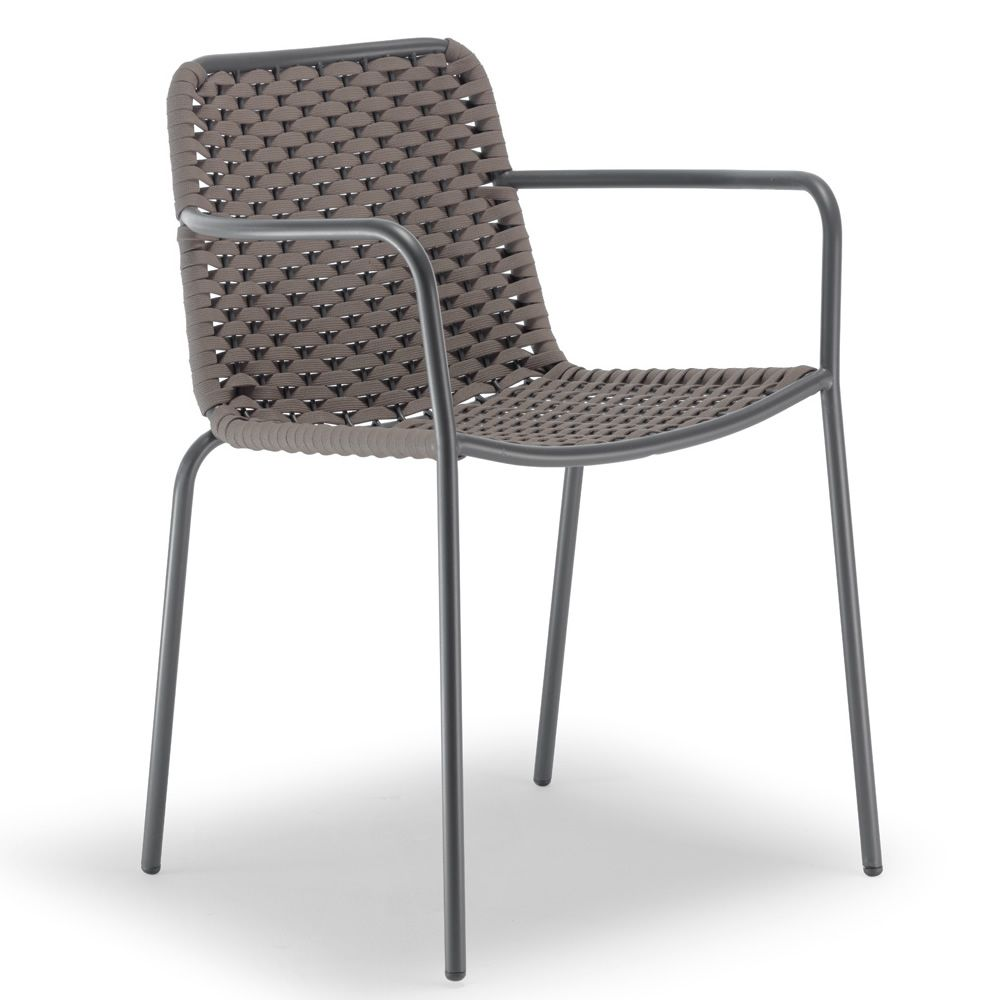 Outdoor armchair made of anthracite varnished metal, polyethylene and textilene covering, dove-grey colour